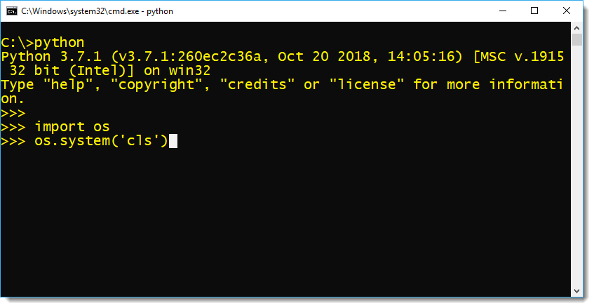 How to clear Python Prompt by Manish Sharma