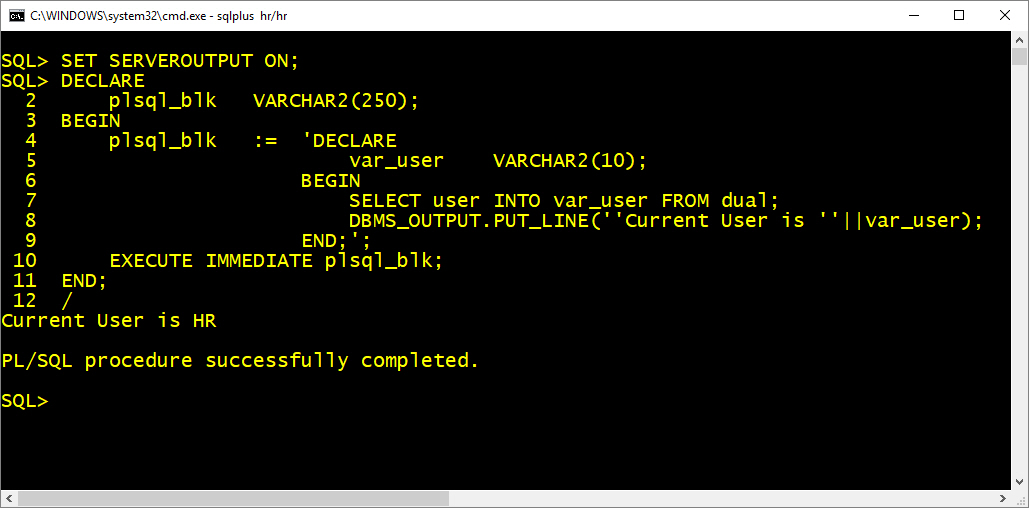 create pl/sql block using execute immediate of dynamic sql by manish sharma