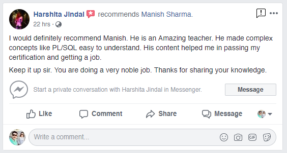 How to recommend manish sharma on facebook
