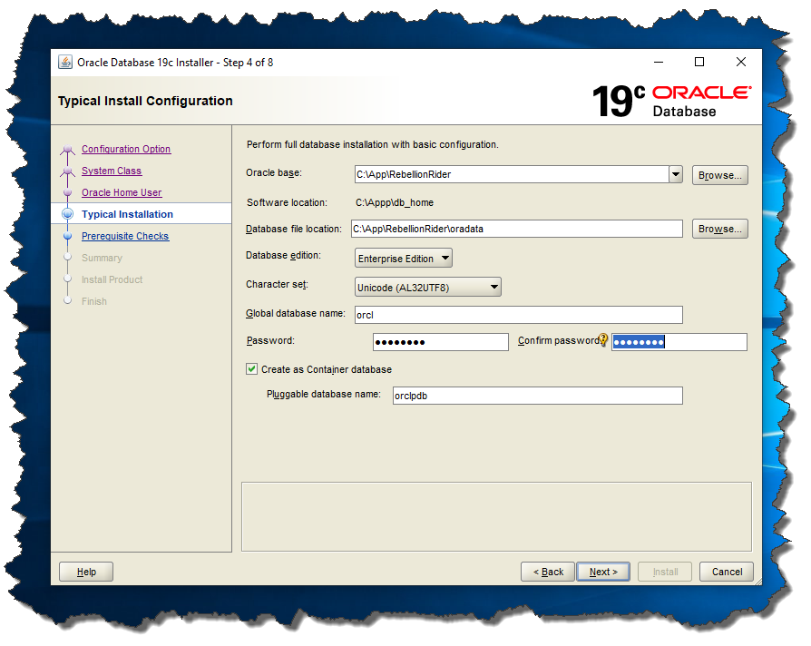 Oracle 19c Screen 4: Typical Installation.