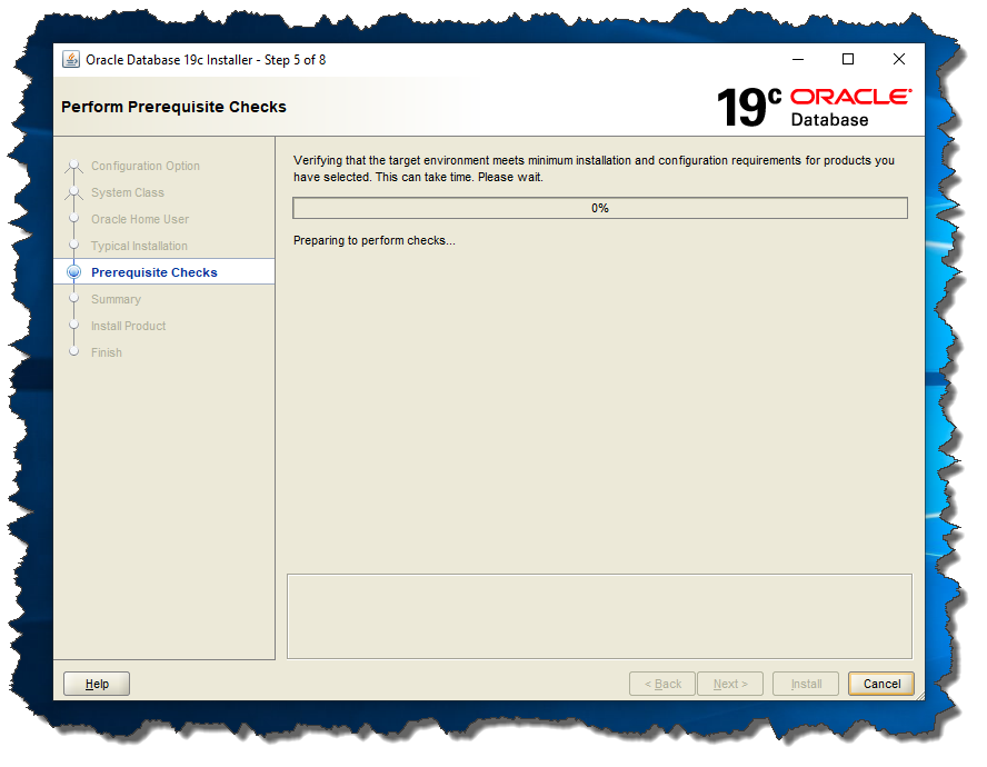 Oracle 19c Screen 5: Prerequisite Checks