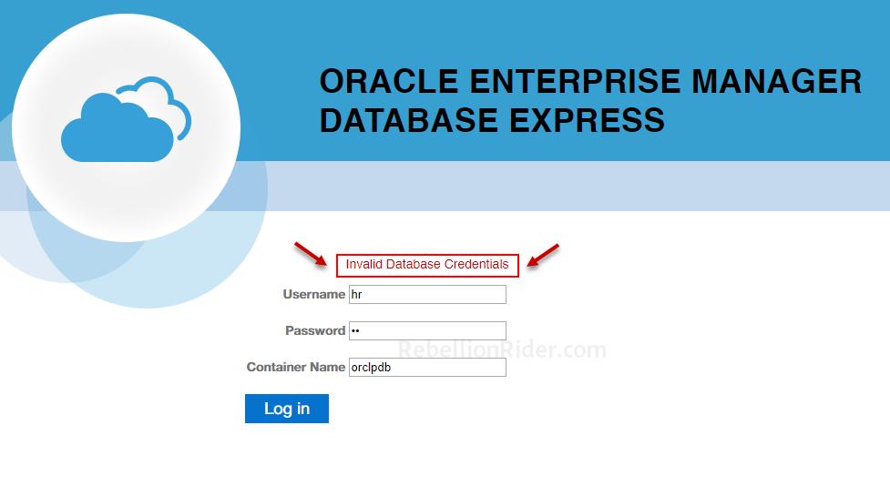 nvalid Database Credentials Error